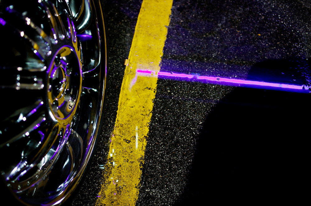 The parking lot of the Mons Venus strip club in Tampa, Florida on a rainy night.