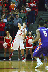 07 January 2012:  Jordan Threloff inbounds the ball with 2.8 seconds left on the clock during an NCAA Missouri Valley Conference mens basketball game Where the Purple Aces of Evansville lost to the Illinois State Redbirds 75-73 in Redbird Arena, Normal IL