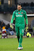 West Ham United goalkeeper Roberto (13) during the Premier League match between Burnley and West Ham United at Turf Moor, Burnley, England on 9 November 2019.