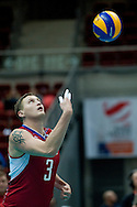 Nikolay Apalikov from Russia in action during the 2013 CEV VELUX Volleyball European Championship match between Russia v Slovakia at Ergo Arena in Gdansk on September 24, 2013.<br /> <br /> Poland, Gdansk, September 24, 2013<br /> <br /> Picture also available in RAW (NEF) or TIFF format on special request.<br /> <br /> For editorial use only. Any commercial or promotional use requires permission.<br /> <br /> Mandatory credit:<br /> Photo by © Adam Nurkiewicz / Mediasport