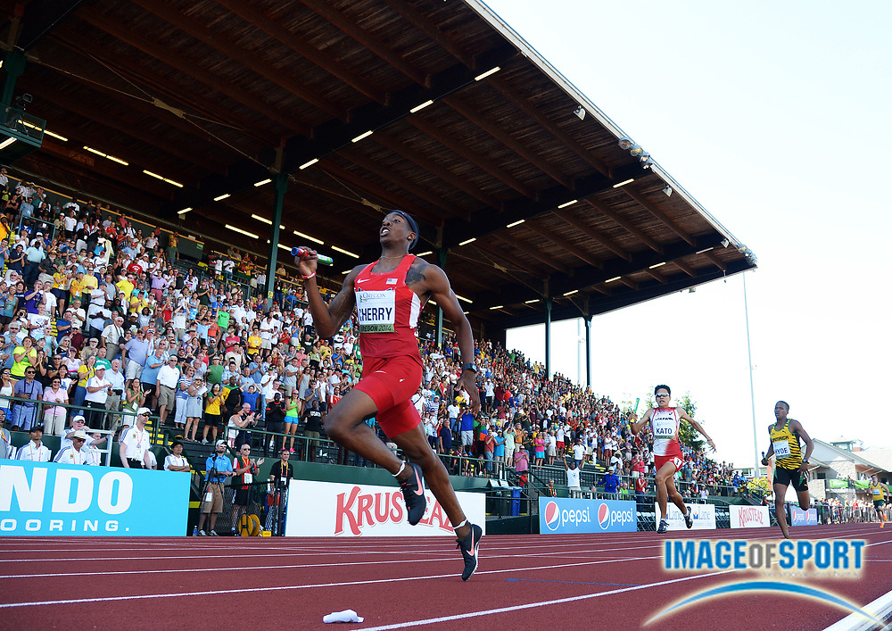 Jul 27, 2014; Eugene, OR, USA; Michael Cherry runs the anchor leg on the United States 4 x 400m relay that won in 3:03.31 in the 2014 IAAF World Junior Championships at Hayward Field.
