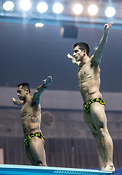 WUHAN, June 5, 2018  Jahir Ocampo Marroquin/Rommel Pacheco Marrufo (R) of Mexico compete during the men's 3m springboard synchronised final at the FINA Diving World Cup 2018 in Wuhan, central China's Hubei Province, on June 5, 2018. Jahir Ocampo Marroquin/Rommel Pacheco Marrufo took the third place with a total of 435.72 points. (Credit Image: © Xiong Qi/Xinhua via ZUMA Wire)