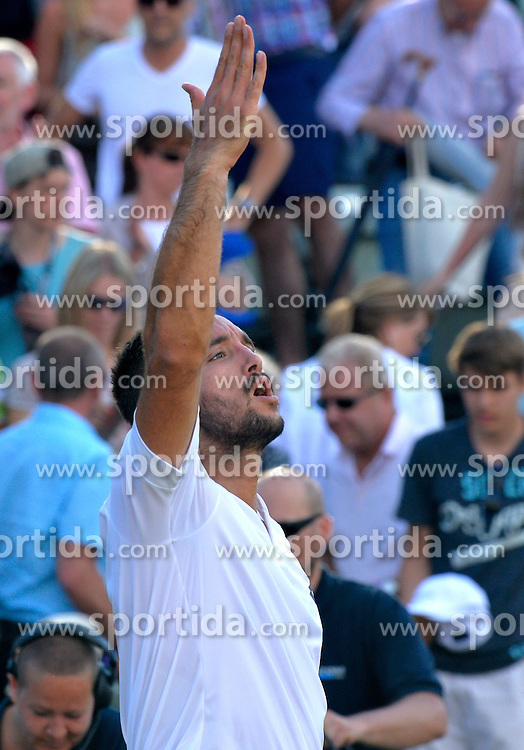13.06.2015, Tennis Club Weissenhof, Stuttgart, GER, ATP Tour, Mercedes Cup Stuttgart, Halbfinale, im Bild Viktor Troicki (SRB) Schlussjubel Jubel jubelt Freude Emotion nach gewonnenem Match bedankt sich bei Publikum // during the half finals of Mercedes Cup of ATP world Tour at the Tennis Club Weissenhof in Stuttgart, Germany on 2015/06/13. EXPA Pictures &copy; 2015, PhotoCredit: EXPA/ Eibner-Pressefoto/ Weber<br /> <br /> *****ATTENTION - OUT of GER*****