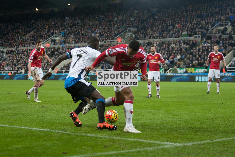 Newcastle v Manchester Utd 12 January 2016<br />Sissoko gets around Memphis in the Man Utd box<br />(c) Russell G Sneddon / SportPix.org.uk
