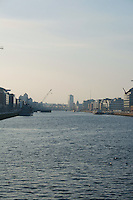 View from the East link bridge of Dublin's docklands by the River Liffey in Ireland