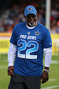 Jan 23, 2019; Kissimmee, FL, USA; Former Dallas Cowboys running back and hall of famer Emmitt Smith (22) smiles and poses before the 2019 Pro Bowl Skills Challenge at ESPN Wide World of Sports Complex. (Steve Jacobson/Image of Sport)