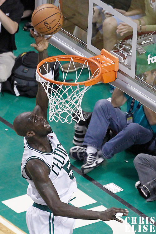 03 June 2012: Boston Celtics power forward Kevin Garnett (5) goes for the layup during the second half of Game 4 of the Eastern Conference Finals playoff series, Heat at Celtics, at the TD Banknorth Garden, Boston, Massachusetts, USA.