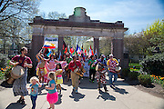 Participants start the 2015 International Street Fair parade at College Gate on the campus of Ohio Univeristy.