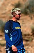 Red Bull Rampage freeride event, Virgin, Utah, USA. October 2003