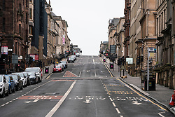 Glasgow, Scotland, UK. 26 March, 2020. Views from city centre in Glasgow on Thursday during the third day of the Government sanctioned Covid-19 lockdown. The city is largely deserted. Only food and convenience stores open. Pictured; West George Street ids deserted. Iain Masterton/Alamy Live News
