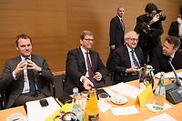 21 JAN 2013, BERLIN/GERMANY:<br /> Daniel Bahr, FDP, Bundesgesundheitsminister, Guido Westerwelle, FDP, Bundesaussenminister, Rainer Bruederle, FDP Fraktionsvorsitzender und Otto Fricke, FDP, Parl. Geschaftsfuehrer der Bundestagsfraktion, (v.L.n.R.), vor Beginn der Sitzung des FDP Bundesvorstandes nach den Landtagswahlen in Niedersachsen, Thomas-Dehler-Haus<br /> IMAGE: 20130121-01-011<br /> KEYWORDS: Philipp R&ouml;sler, Patrik D&ouml;ring
