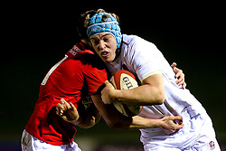 Richard Capstick of England U20 is tackled - Mandatory by-line: Robbie Stephenson/JMP - 22/02/2019 - RUGBY - Zip World Stadium - Colwyn Bay, Wales - Wales U20 v England U20 - Under-20 Six Nations