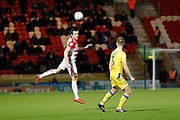 John Marquis of Doncaster Rovers heads the ball on during the EFL Sky Bet League 1 match between Doncaster Rovers and Bristol Rovers at the Keepmoat Stadium, Doncaster, England on 26 March 2019.