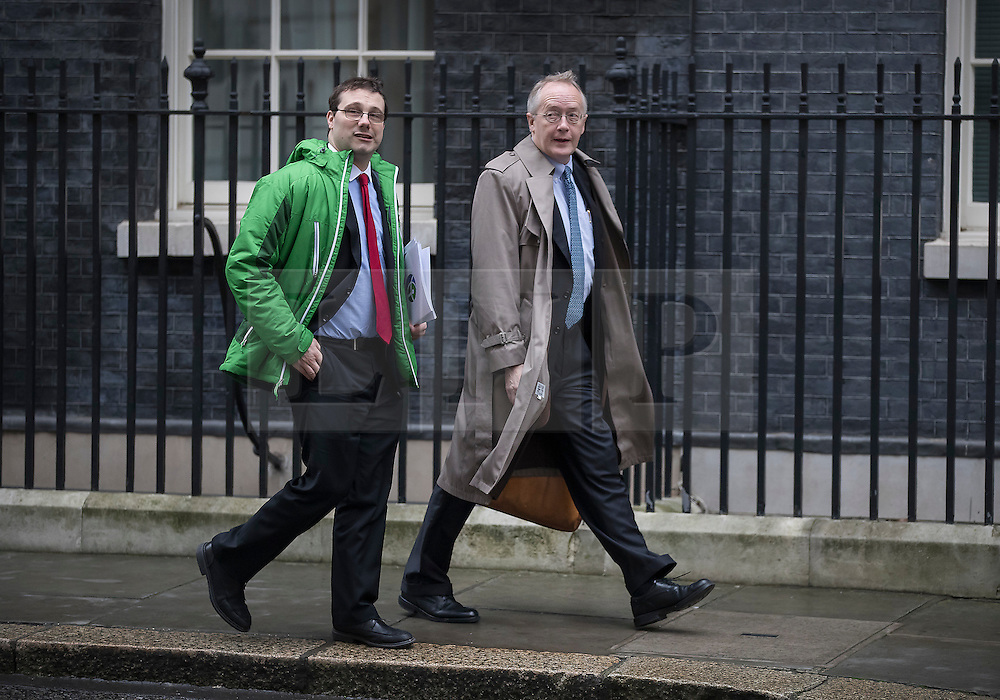 © Licensed to London News Pictures. 31/01/2017. London, UK. Myron Ebell (R), US President Trump's environment advisor, leaves number 10 Downing Street after meeting with government officials.  Photo credit: Peter Macdiarmid/LNP