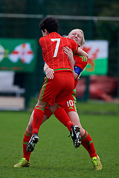 NEWPORT, WALES - Sunday, April 3, 2016: Wales' captain Elise Hughes celebrates scoring the third goal against Northern Ireland with team-mate Emily Jones during Day 3 of the Bob Docherty International Tournament 2016 at Dragon Park. (Pic by David Rawcliffe/Propaganda)