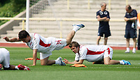 Photo: Chris Ratcliffe.<br /> <br /> England Training Session. FIFA World Cup 2006. 29/06/2006.<br /> <br /> David Beckham and Gary Neville inj training.