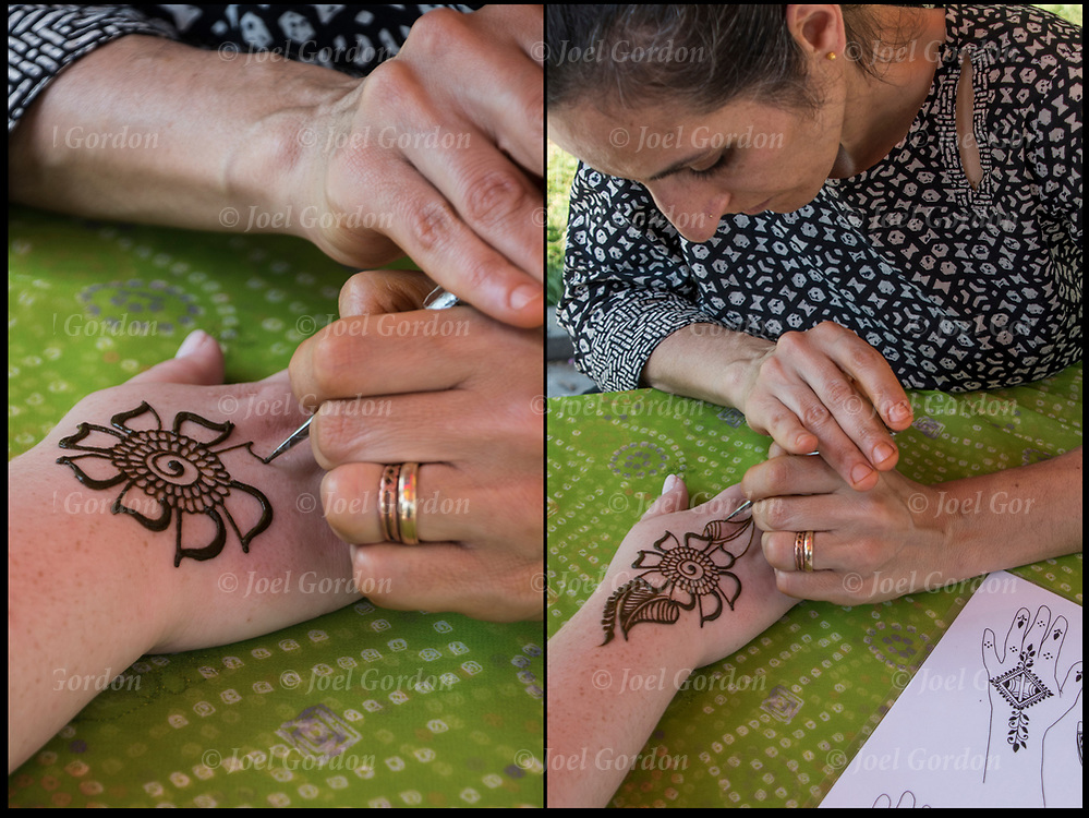 Henna design tattoo by Mangala Buhler-Rose in Washington Square Park at the Hare Krishna Festival of Chariots. <br />