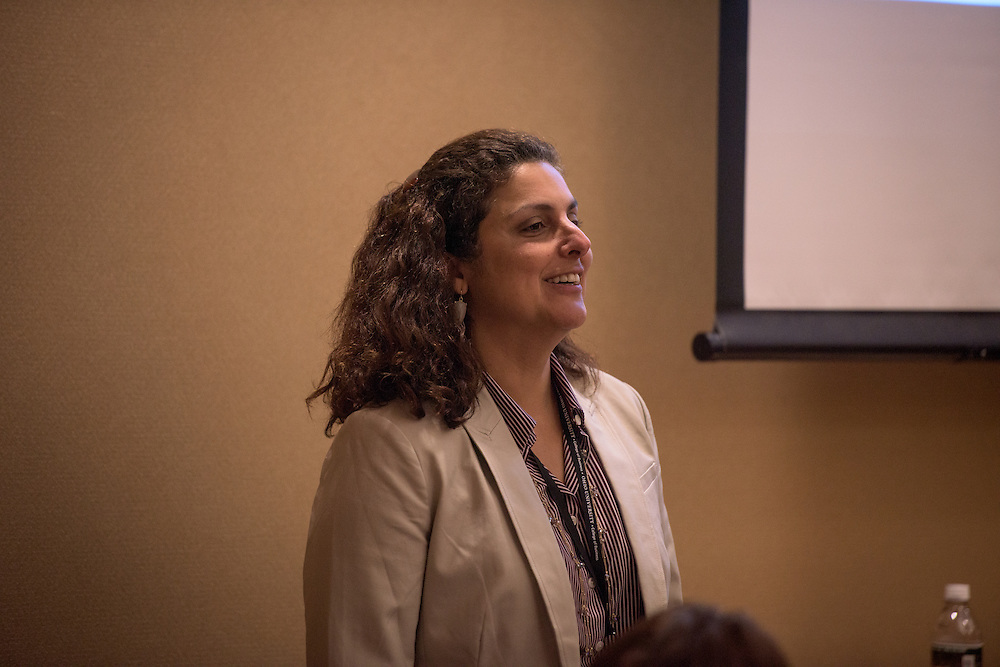 Janna Chimeli, Ohio University College of Business Instructor, speaks with attendees of the Ohio MBA Leadership Development Workshop on Saturday, August 27, 2016.