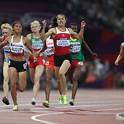 Asli Cakir Alptekin, Turkey winning the Gold Medal with team mate  Gamze Bulut, Turkey winning the Silver Medal in the Women's 1500m Final at the Olympic Stadium, Olympic Park, during the London 2012 Olympic games. London, UK. 10th August 2012. Photo Tim Clayton