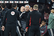 Manchester United manager Jose Mourinho shakes hands with the fourth official and AFC Bournemouth manager Eddie Howe at full time after a 2-0 win over Bournemouth during the Premier League match between Bournemouth and Manchester United at the Vitality Stadium, Bournemouth, England on 18 April 2018. Picture by Graham Hunt.