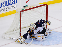 Nov 1, 2008; Newark, NJ, USA; Atlanta Thrashers goalie Ondrej Pavelec (31) makes a save during the third period at the Prudential Center. The Devils defeated the Thrashers 6-1.