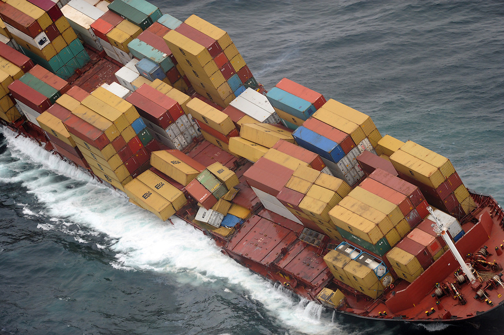 The stricken container ship Rena grounded on the Astrolabe Reef, Mt Maunganui, New Zealand, Wednesday, October 12, 2011. Credit:SNPA / Ross Setford