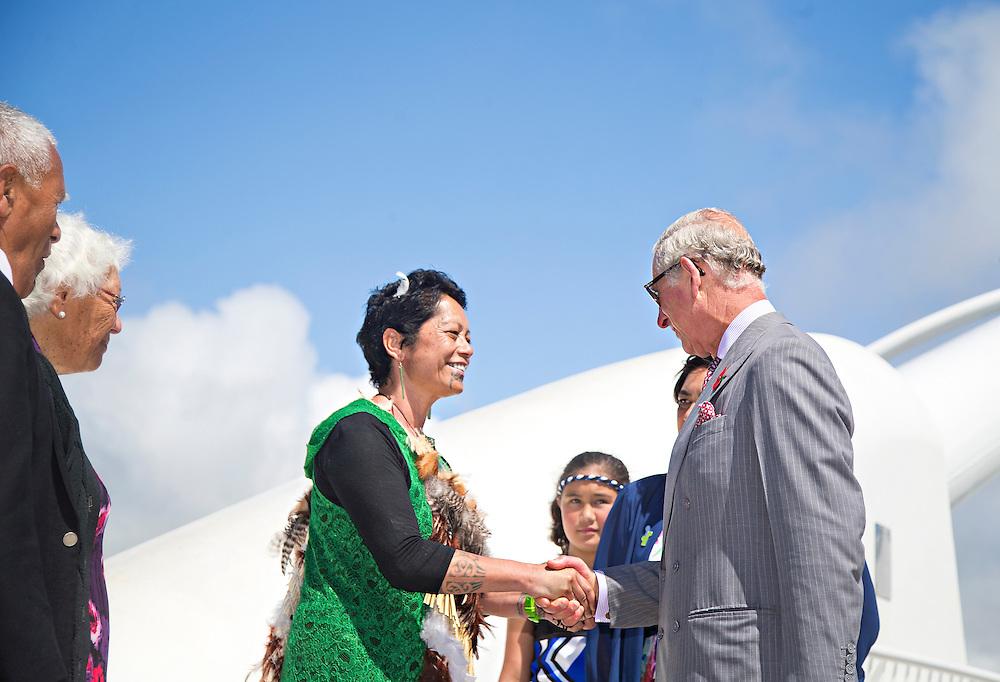 Prince Charles, Prince of Wales after crossing the Te Rewa Rewa Bridge and walking the Coastal Walkway, New Plymouth, New Zealand, New Zealand, Monday, November 09, 2015. Credit:SNPA / Fairfax, Charlotte Curd  **POOL**