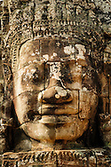 A close-up on a bayon typical face, Bayon Temple, Siem Reap, Cambodia