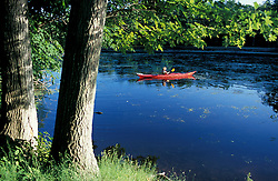 Hampton, NH..Kayaking on the Taylor River where it flows through the Hurd Farm in Hampton, New Hampshire.