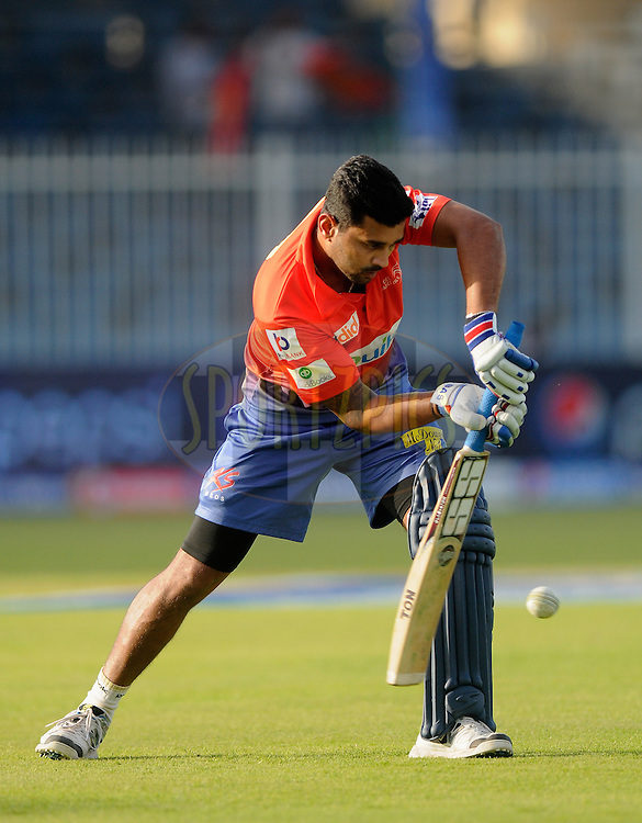 Murali Vijay of the Delhi Daredevils during a practice session before the start of match 2 of the Pepsi Indian Premier League Season 7 between the Delhi Daredevils and The Royal Challengers Bangalore held at the Sharjah Cricket Stadium, Sharjah, United Arab Emirates on the 17th April 2014<br /> <br /> Photo by Pal Pillai / IPL / SPORTZPICS