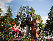 Faculty speaker Grant Hightower talks during the 148th Graduation exercises at Wellesley High School on June, 2, 2017.   [Wicked Local Photo/James Jesson]