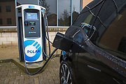 An electric car charging at one of the Chargemaster POLAR Network charging points in the United Kingdom. Chargemaster make and install the charging points in the UK through their POLAR Network, which gives access to over 6,000 charging points.  (photo by Andrew Aitchison / In pictures via Getty Images)