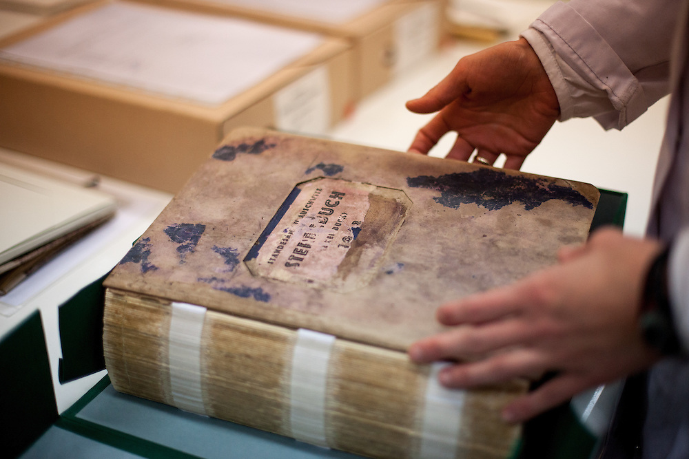 "A preserved so called ""camp death book"" (in German: Sterbebuch) at the Auschwitz  Museum Preservation lab for documents, books and other historical papers. All together 51 death books were so far preserved and about 3 to 4 employees work on one book for approximately 3 months. The Museum Preservation Department is responsible for protecting everything that remains at the Auschwitz-Birkenau Concentration Camp site."