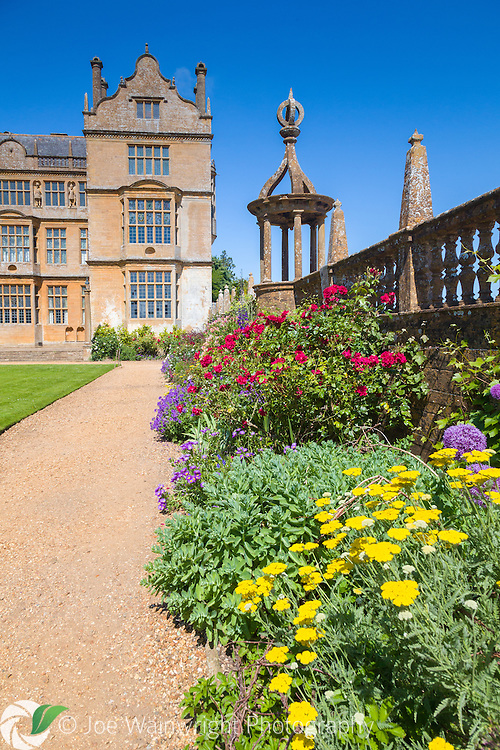 The Elizabethan Montacute House, in Somerset, photographed in June sunshine.