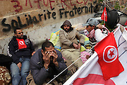 Tunisians from province camp under the the Prime Minister's office demanding the dissolution of the interim governement.