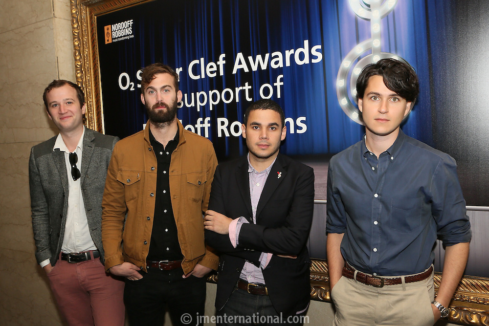 Vampire Weekend (L-R) Chris Baio, Chris Tomson, Rostam Batmanglij and Ezra Koenig. The Silver Clef Lunch 2013 in aid of  Nordoff Robbins held at the London Hilton, Park Lane, London.<br /> Friday, June 28, 2013 (Photo/John Marshall JME)