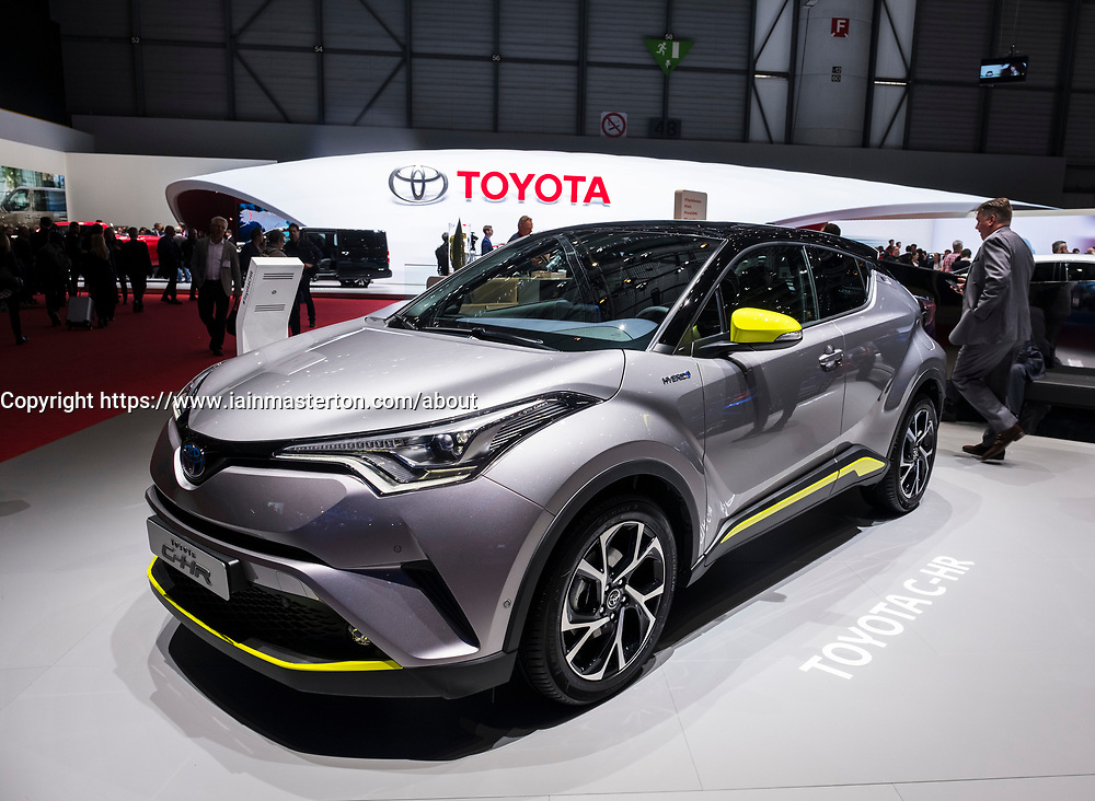 Toyota C-HR, hybrid electric SUV at 87th Geneva International Motor Show in Geneva Switzerland 2017