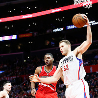 12 December 2016: LA Clippers forward Blake Griffin (32) grabs a rebound during the LA Clippers 121-120 victory over the Portland Trail Blazers, at the Staples Center, Los Angeles, California, USA.