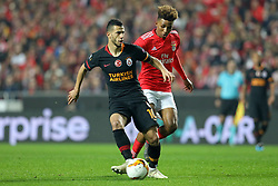February 21, 2019 - Lisbon, Portugal - Younès Belhanda of Galatasaray AS (L) vies for the ball with Gedson Fernandes of SL Benfica (R) during the Europa League 2018/2019 footballl match between SL Benfica vs Galatasaray AS. (Credit Image: © David Martins/SOPA Images via ZUMA Wire)