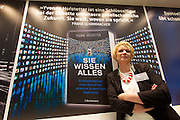 "Frankfurt Book Fair 2014, biggest of its kind in the World. C. Bertelsmann Verlag. Author Yvonne Hofstetter with her best-selling book ""Sie wissen Alles"" about Big Data."