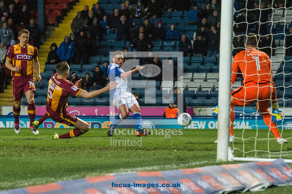 Marcus Antonsson of Blackburn Rovers with a shot on goal during the Sky Bet League 1 match at Ewood Park, Blackburn<br /> Picture by Matt Wilkinson/Focus Images Ltd 07814 960751<br /> 29/03/2018