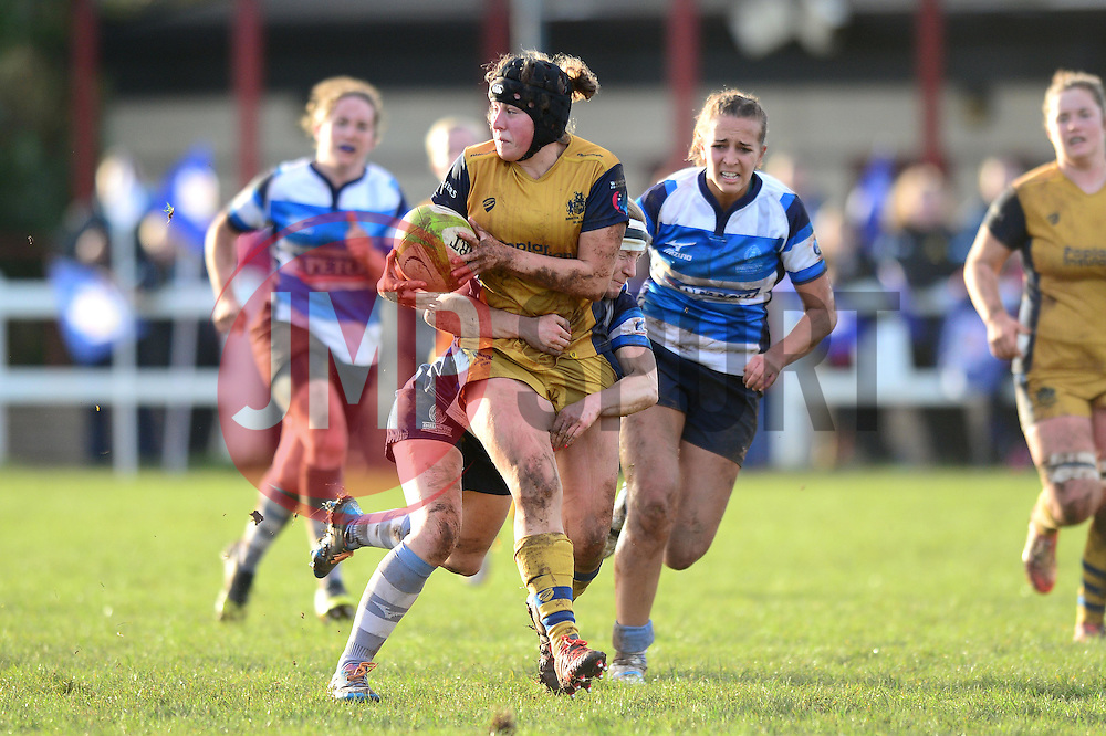 Clara Nielson of Bristol Ladies is tackled  - Mandatory by-line: Dougie Allward/JMP - 11/12/2016 - RUGBY - Cleve RFC - Bristol, England - Bristol Ladies v Darlington Mowden Park Ladies - RFU Women's Premiership
