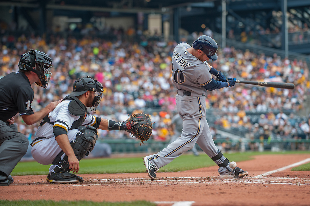 PITTSBURGH, PA - JUNE 08: Jonathan Lucroy #20 of the Milwaukee Brewers bats during the game against the Pittsburgh Pirates at PNC Park on June 8, 2014 in Pittsburgh, Pennsylvania. (Photo by Rob Tringali) *** Local Caption *** Jonathan Lucroy