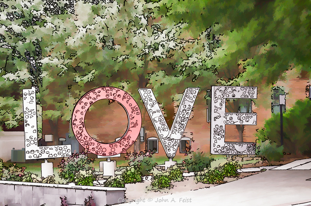 This display in Culpepper, VA is part of the Virginia Is For Lovers campaign.  The treatment is a bit whimsical.  I was trying to render it the way the Beatles might have as part of an animated video to All You Need Is Love