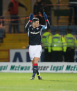 Dundee&rsquo;s Darren O&rsquo;Dea urges the South enclosure to turn up the volume after hsi goal had started the Dark Blues' comeback Dundee v Hearts in the Ladbrokes Scottish Premiership at Dens Park, Dundee. Photo: David Young<br /> <br />  - &copy; David Young - www.davidyoungphoto.co.uk - email: davidyoungphoto@gmail.com