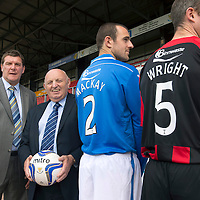 St Johnstone FC back of shirt sponsorship deal with Binn Waste....27.07.13<br /> Pictured from left, Tommy Wright St Johnstone Manager, John MacGregor Binn Waste, Dave Mackay, Frazer Wright.<br /> Picture by Graeme Hart.<br /> Copyright Perthshire Picture Agency<br /> Tel: 01738 623350  Mobile: 07990 594431
