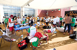 Athletes in the relaxation zone during the 13th FINA World Championships Roma 2009, on August 2, 2009, at the Stadio del Nuoto,  in Foro Italico, Rome, Italy. (Photo by Vid Ponikvar / Sportida)