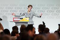 07 DEC 2018, HAMBURG/GERMANY:<br /> Annegret Kramp-Karrenbauer, CDU Parteivorsitzende, nach Ihere Wahl zur Parteivorsitzenden, CDU Bundesparteitag, Messe Hamburg<br /> IMAGE: 20181207-01-179<br /> KEYWORDS: party congress