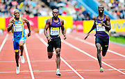 (left to right) Great Britain's Marlon Devonish, Churandy Martina of Netherlands Antilles and Norway's Jaysuma Ndure compete in the men's 200m final during the Diamond League athletics meeting at Crystal Palace in London on August 14, 2010.