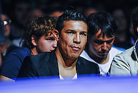 Boxer Sergio Maravilla reacts while watching the Sergio Garcia v Rafael Churita boxing match on October 19, 2013 in Santander, Spain. (Photo by Juan Manuel Serrano Arce/Getty Images)